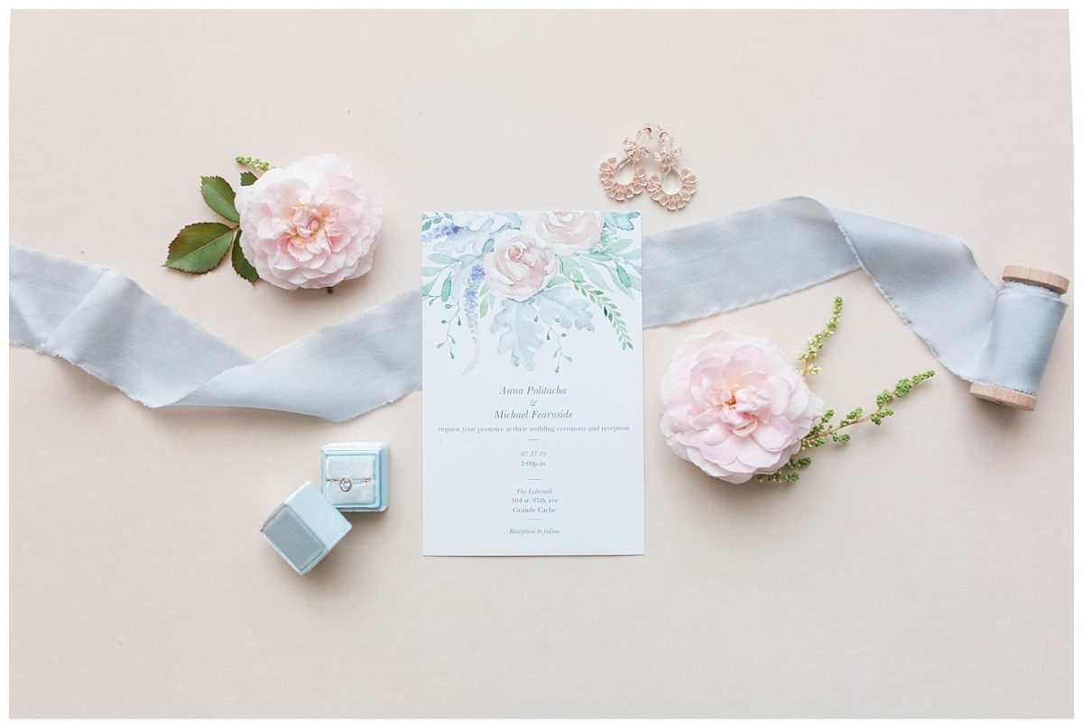 elegant wedding details from mikey and anna wedding in grande cache blue mrs pretty box