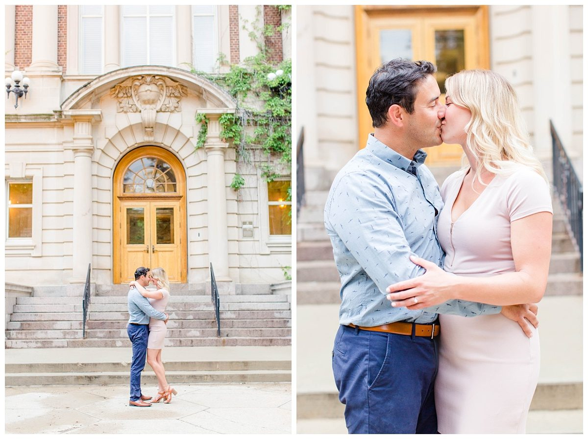 engagement photos in front of the university of alberta with grande prairie alberta wedding photographer in Edmonton