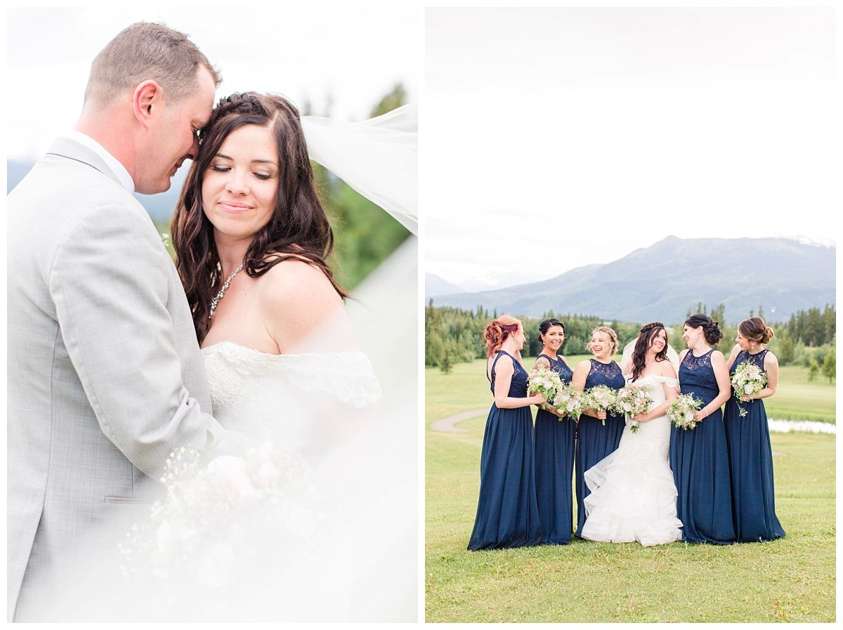 bridal party photos in grande cache mountains close up photo of Amanda and Corwin very romantic