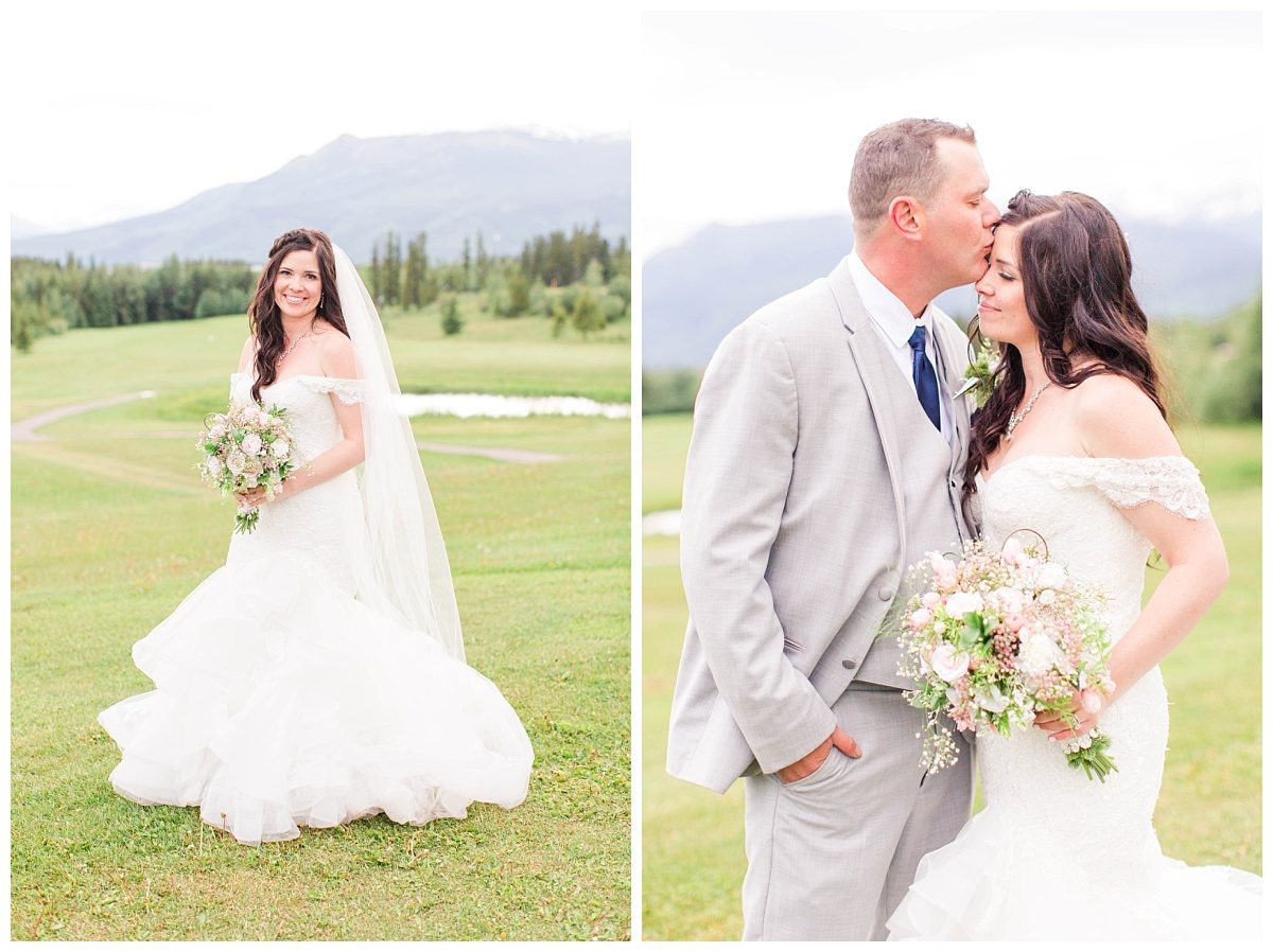 amanda bridal portraits with bride and groom in grande cache lots og greens