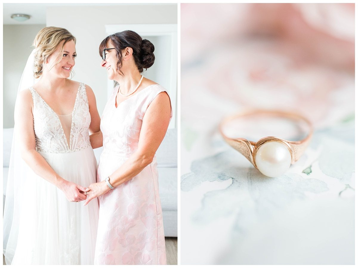 bride and mom getting ready holding hands pearl ring very elegant rose gold wedding details