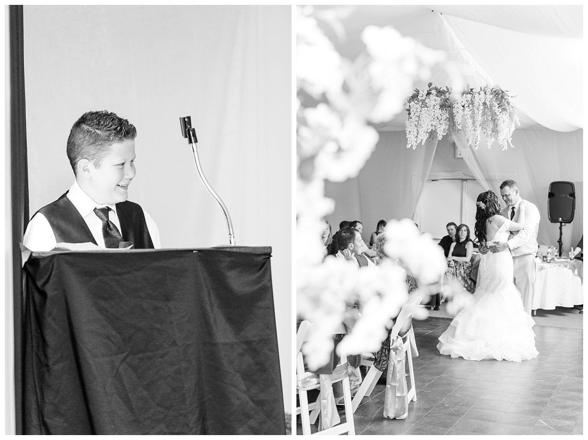 best man speech and the first dance in grande cache indoor wedding venue black and white photos