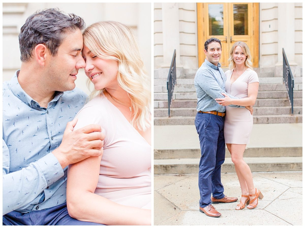 close up photo with a very light and airy feel in edmonton with scott and jessie standing photos