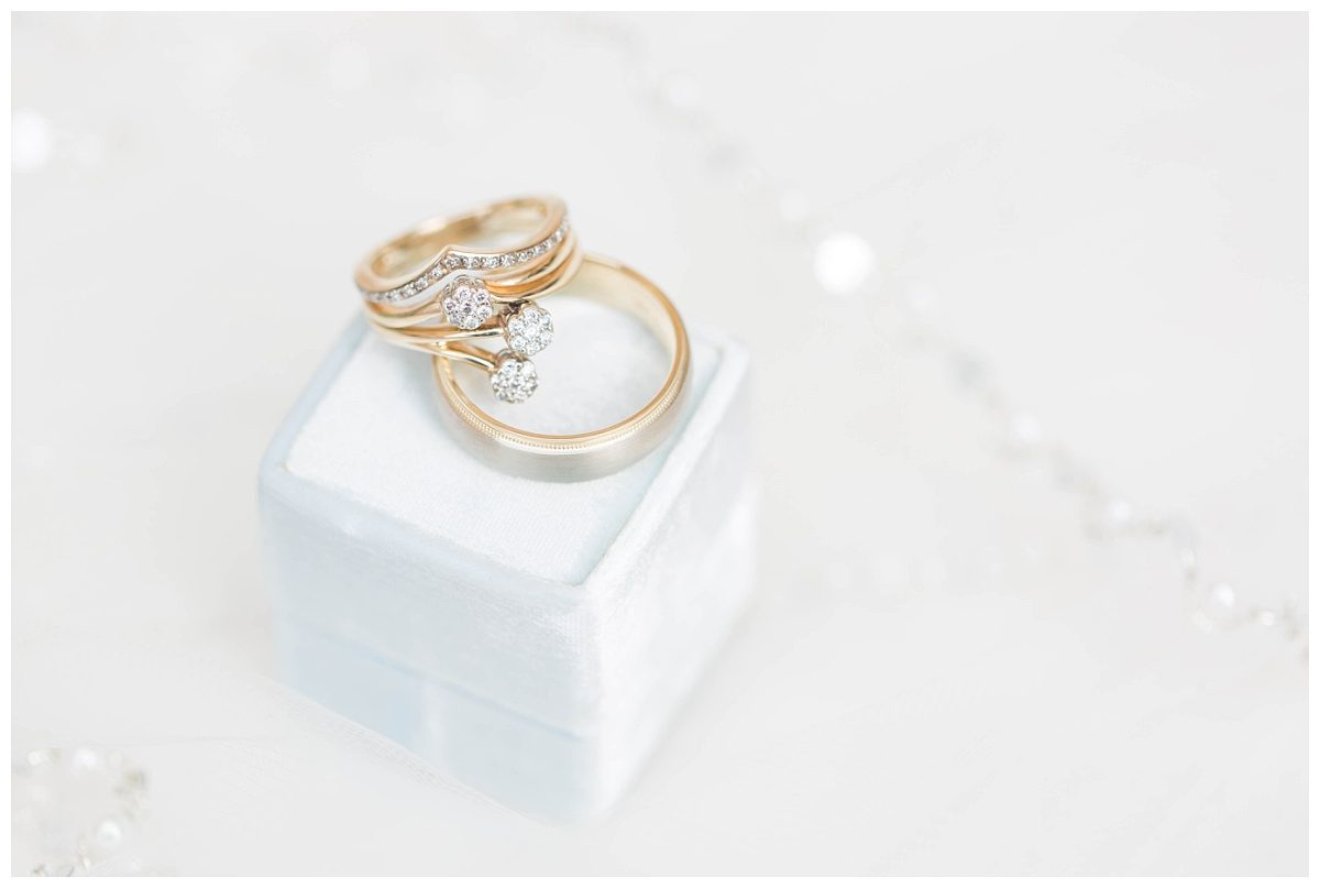 very elegant detail photo of gold wedidng rings on light blue mr box velvet classic look