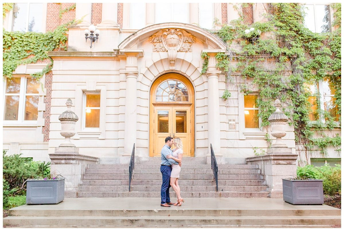 edmonton engagement in front of historic building in alberta Canada very light and airy