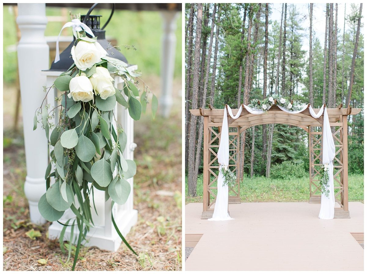 claskon hall wedding details arch with spruce trees in the background in grande prairie also changing dreams to reality rental decor