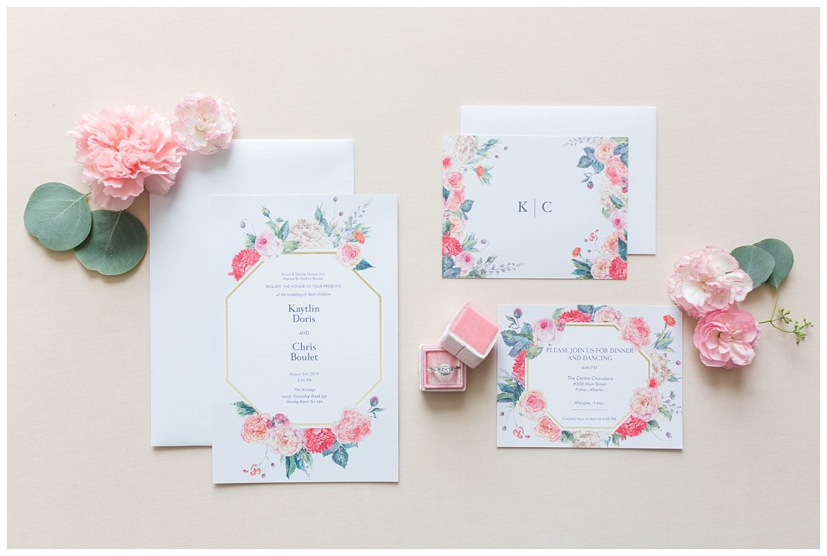 chris and kaytlin wedding invitation with florals from grower direct gp