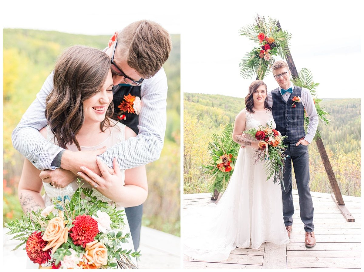 elopement at the serenity acres wedding venue in grande prairie in the fall with pretty colors and triangular arch wedding photographer alberta
