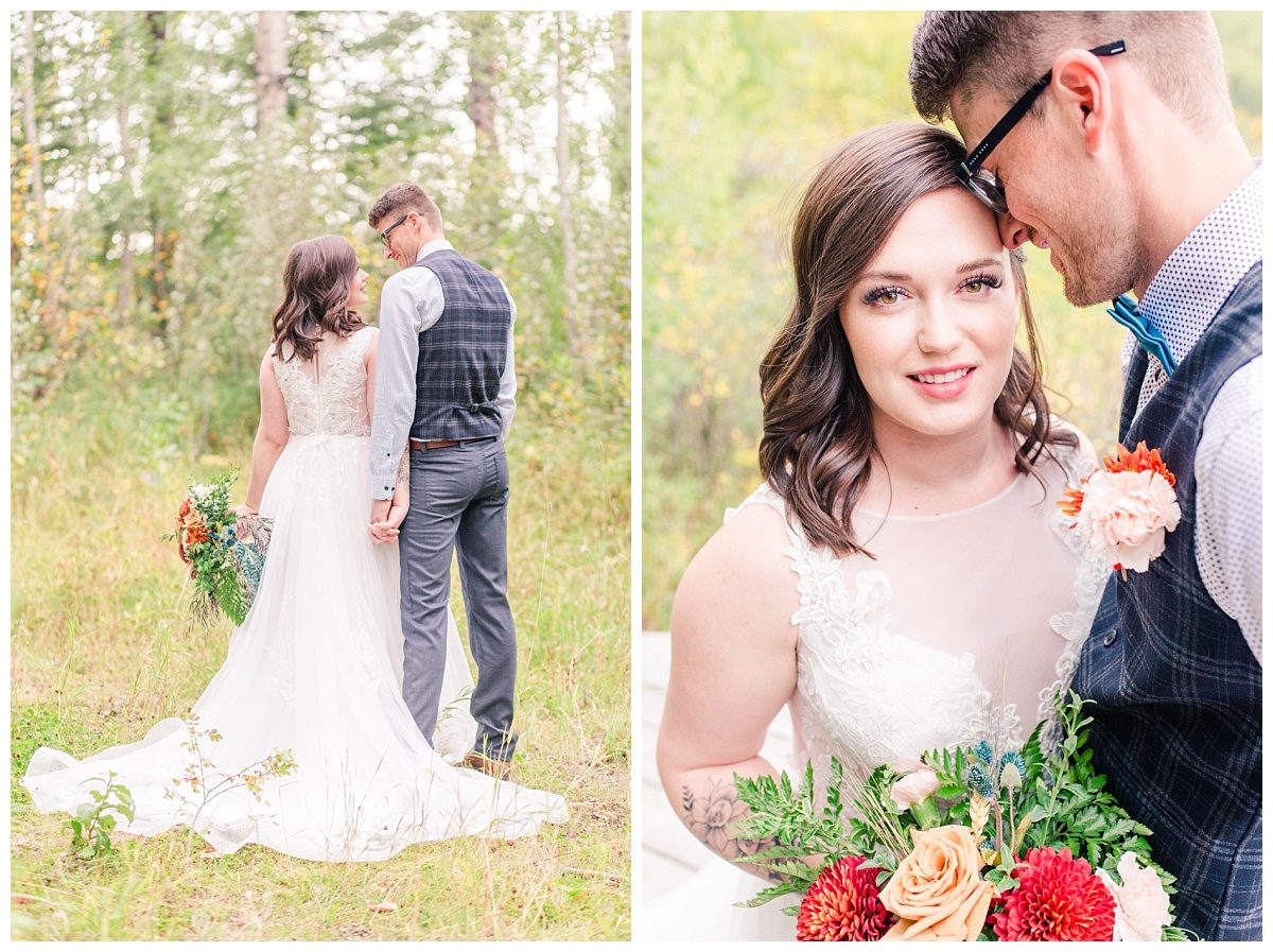 grande prairie fall wedding photographer with fall colors at serenity acres bride and groom romantic pose