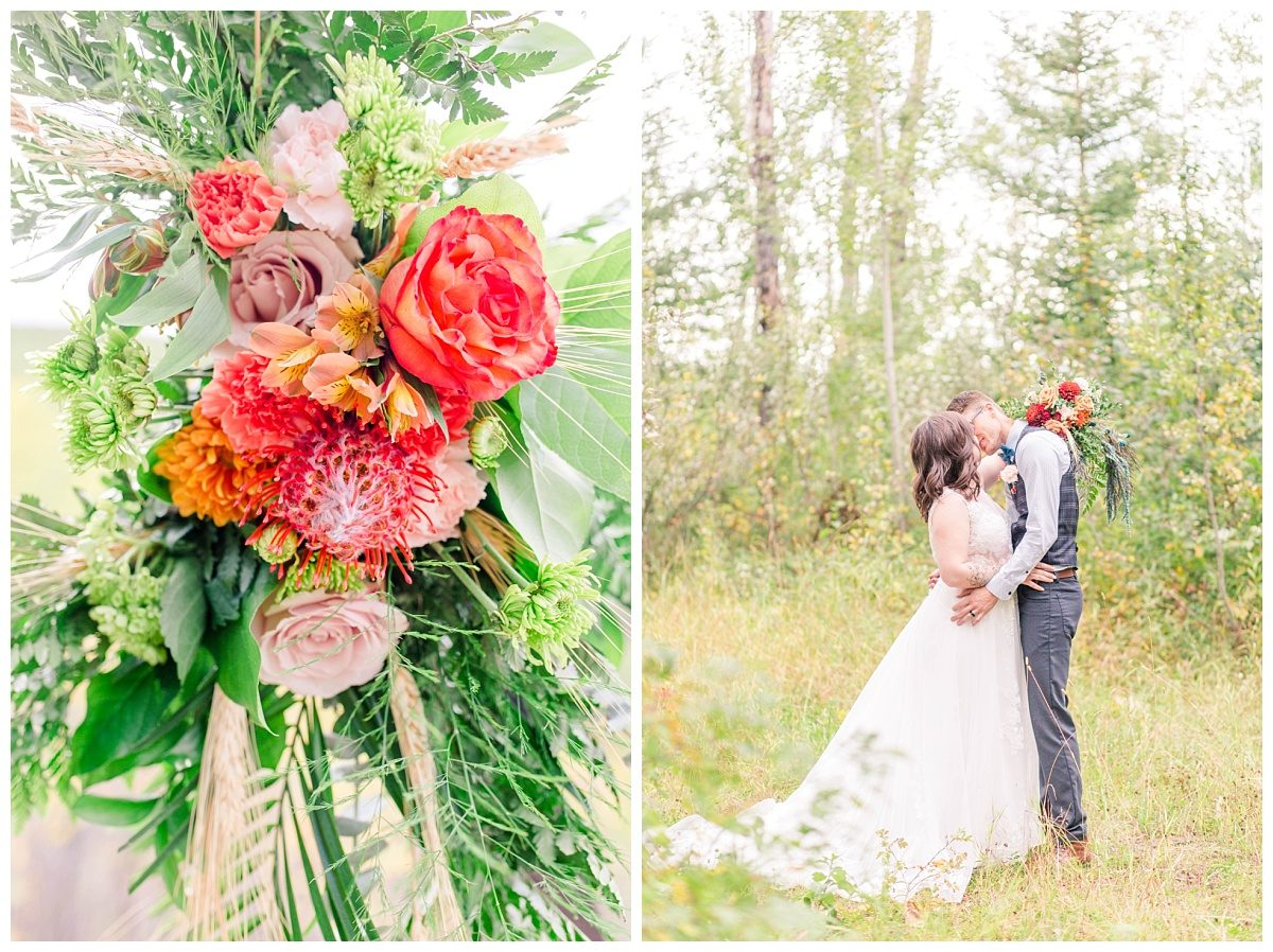 exotic florals bride and groom portraits