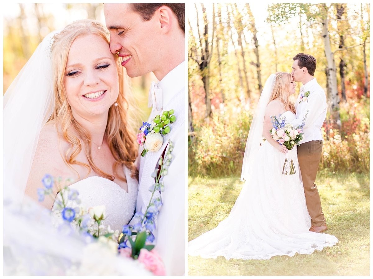 kleskun hills grande prairie wedding photographer romantic joyful fall photos with yellow and red in background trees