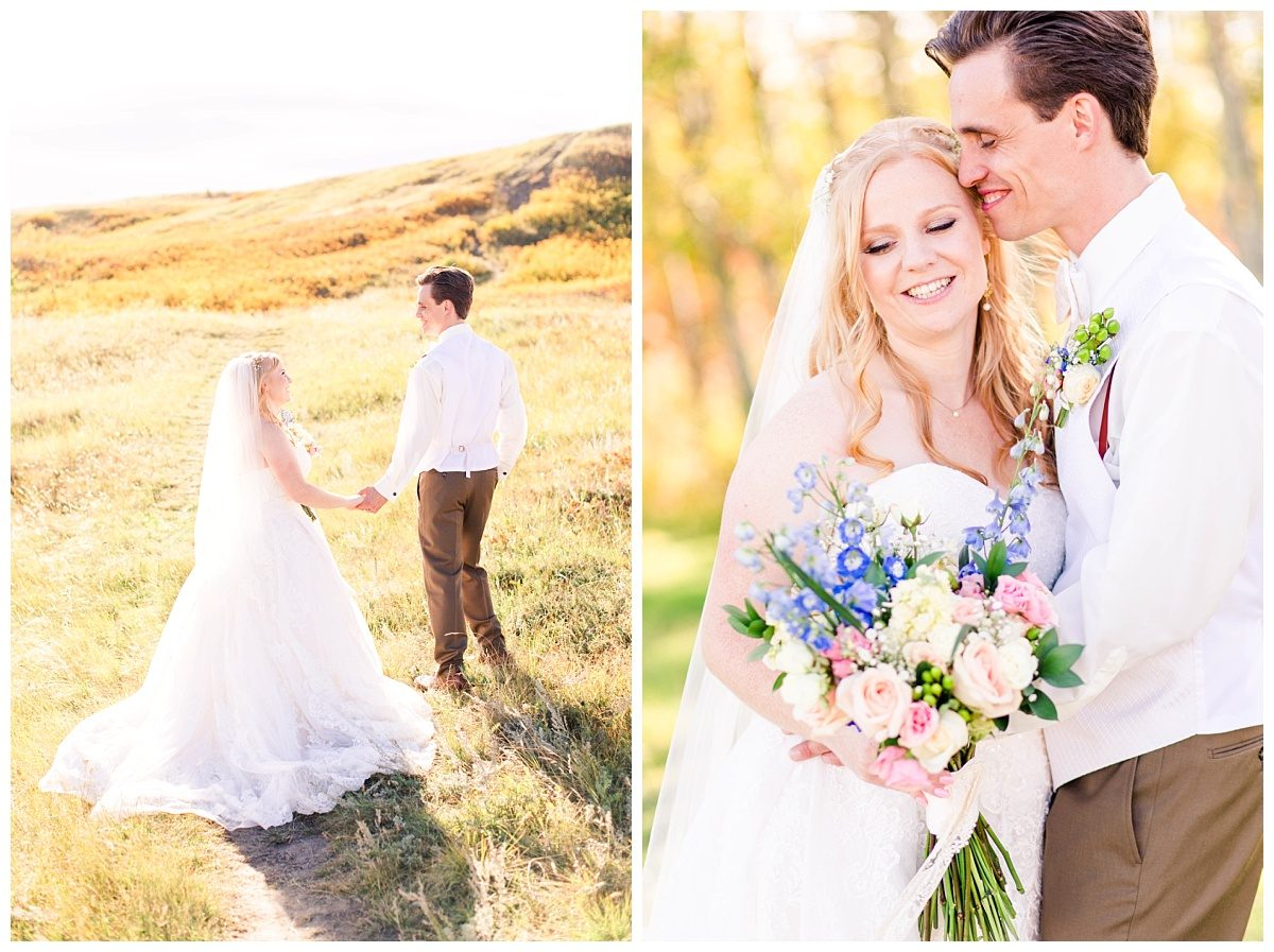 kleskun hills wedding photos with grande prairie wedding photographer in the fall with bride and groom yellow and pastel bouquet