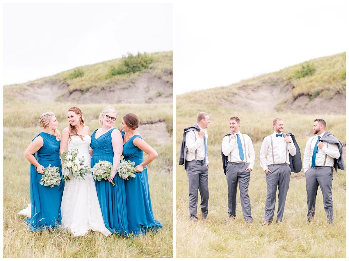bridal party photos at kleskun hills in the fall