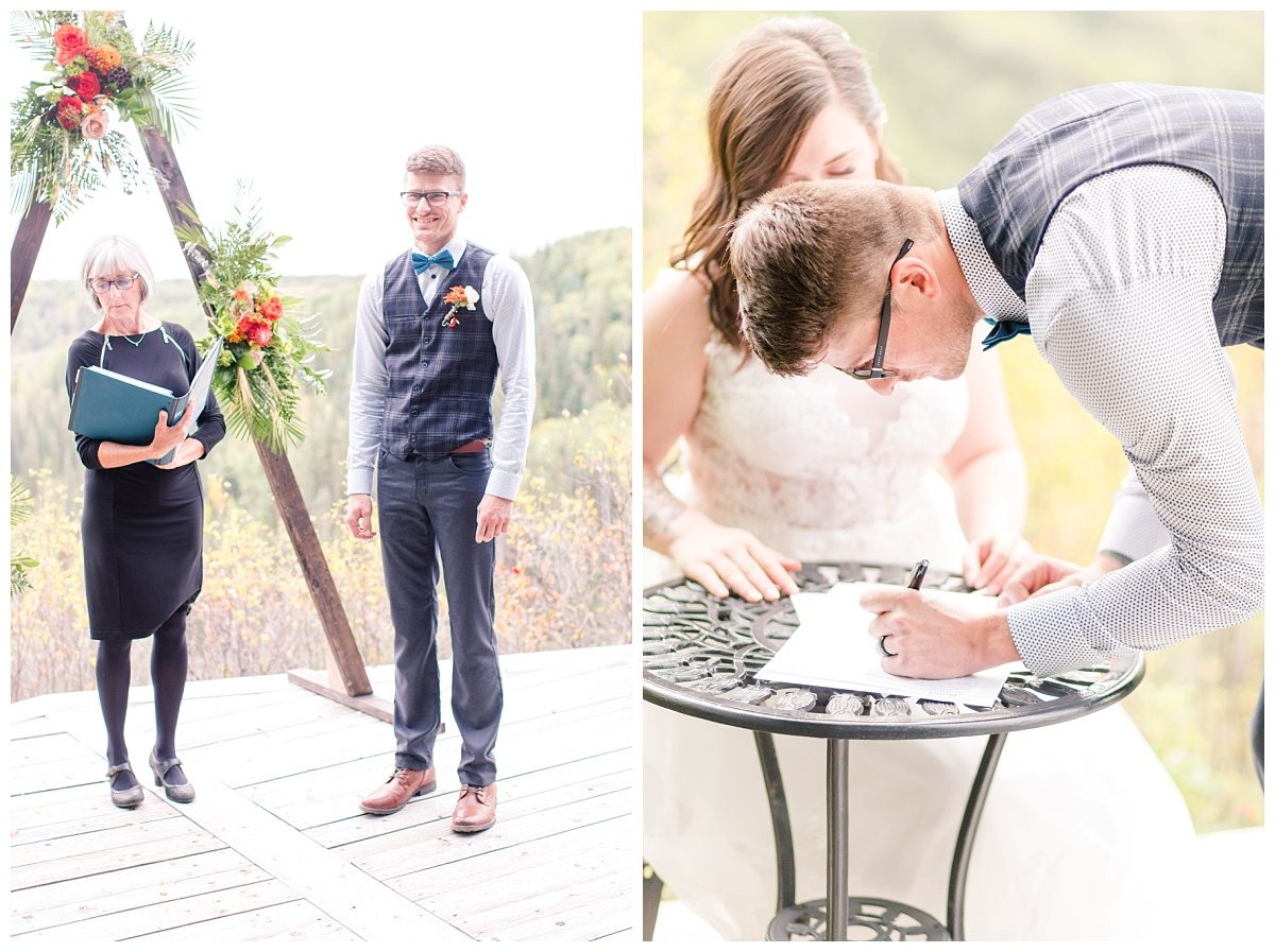 grande prairie elopement ceremony grande prairie groom reaction signing papers