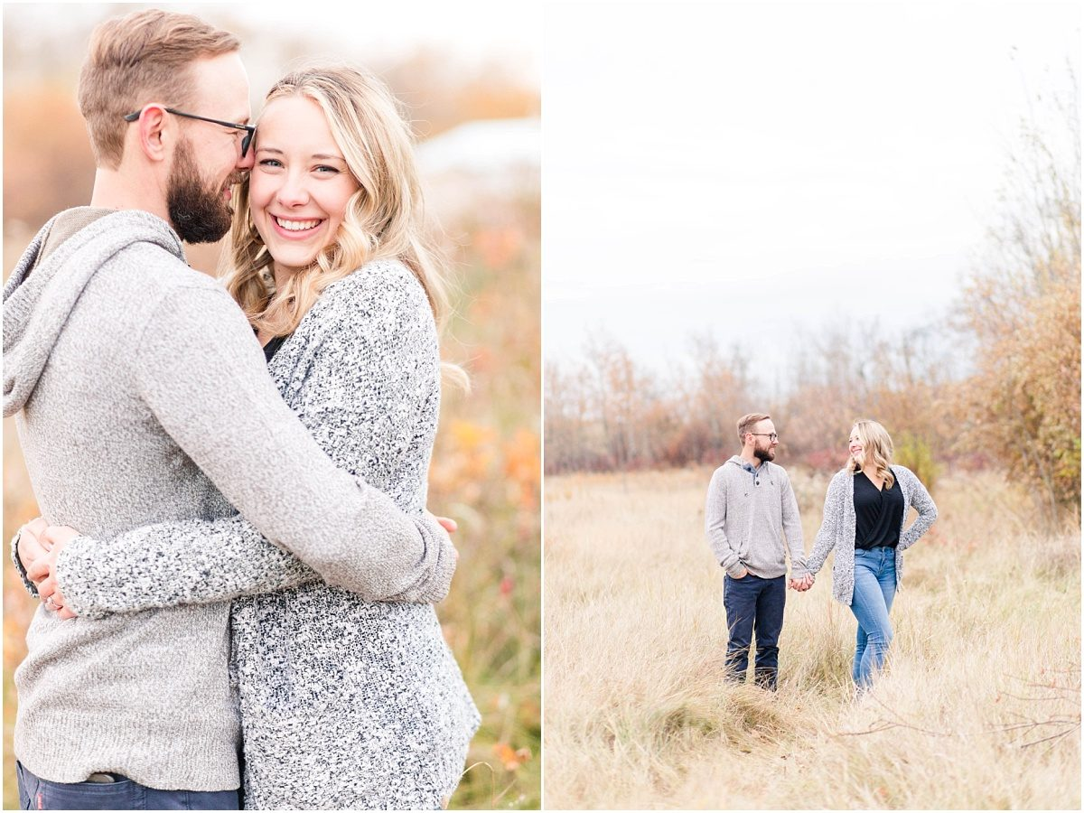 grande prairie fall engagement photographer with calvin and kelsey at kleskun hills grey sweaters cozy
