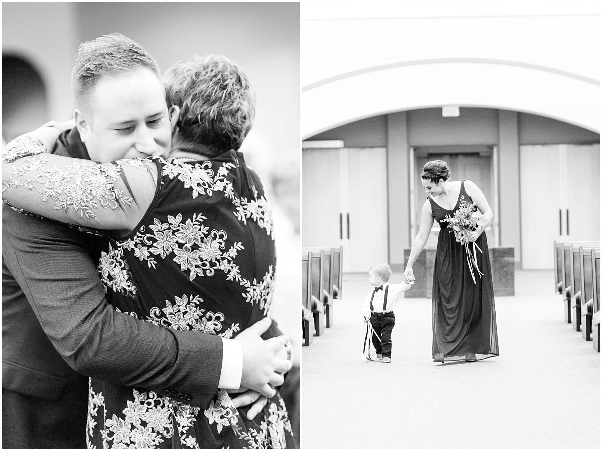 catholic ceremony in grande prairie st Joseph church groom hugging mom