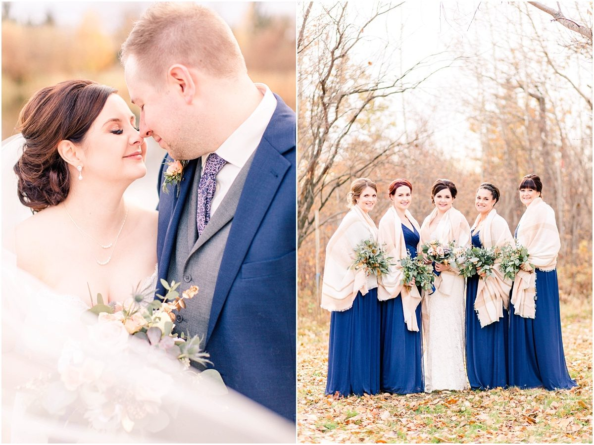 grande prairie alberta fall wedding photographer navy blue and blush bridal party bridesmaids