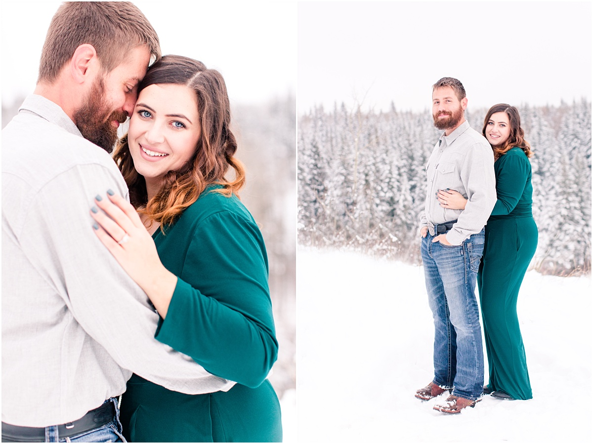 grande prairie engagement photographer captures cody and cassidy engagement photos with spruce trees in the background
