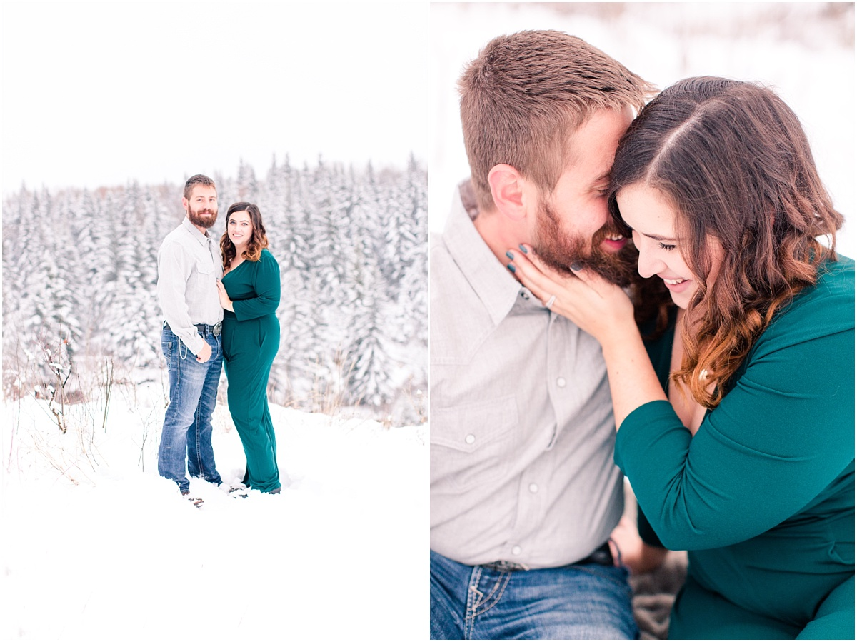cute couple photos in the winter in grande prairie with spruce trees in the background