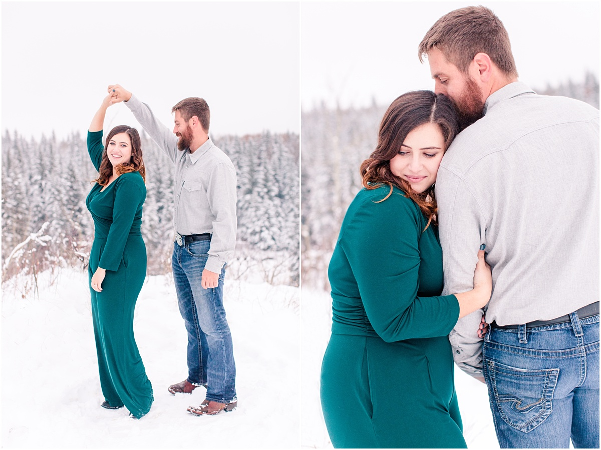 emerald green engagement session in grande prairie alberta with cassidy and cody very romantic