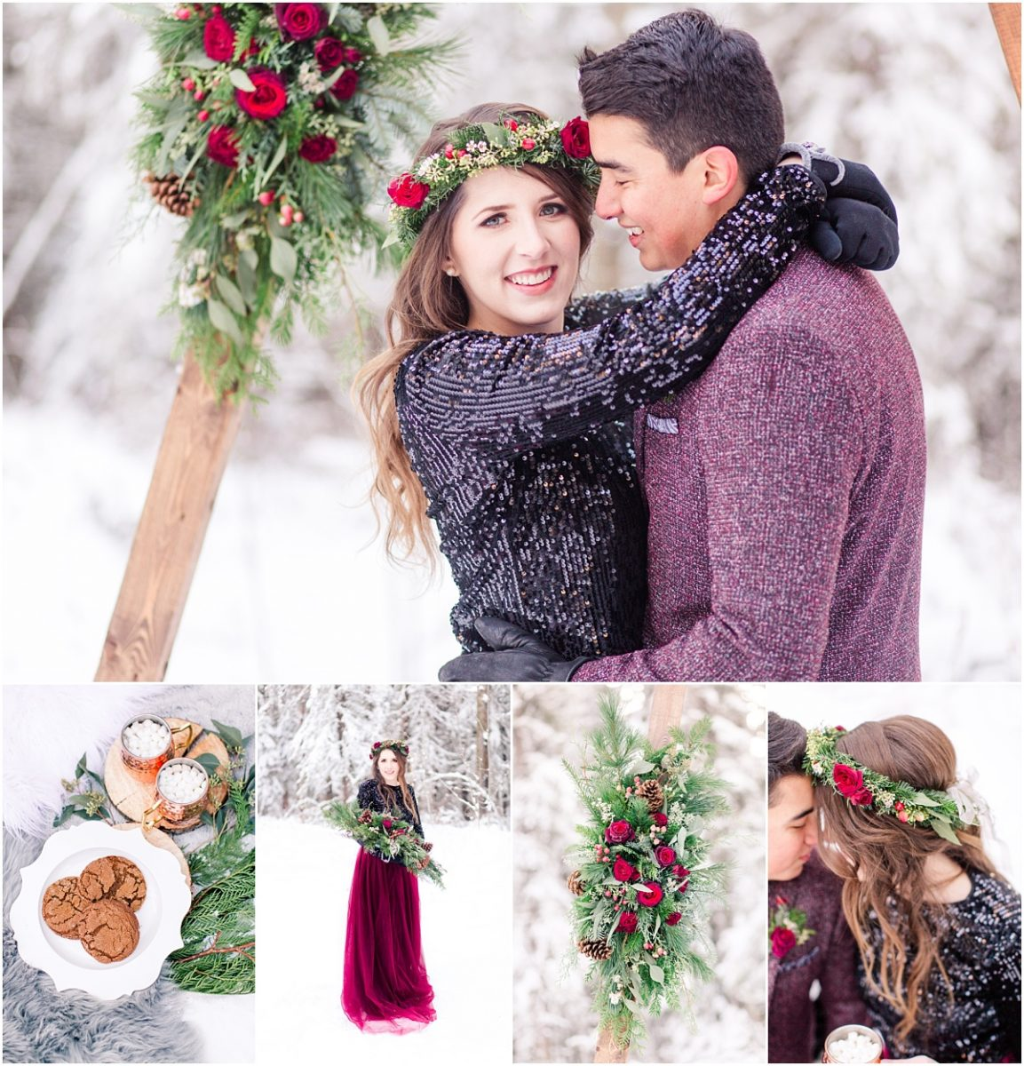 grande prairie winter engagement session with red dress and wedding planner in grande prairie alberta for nathan and shayla