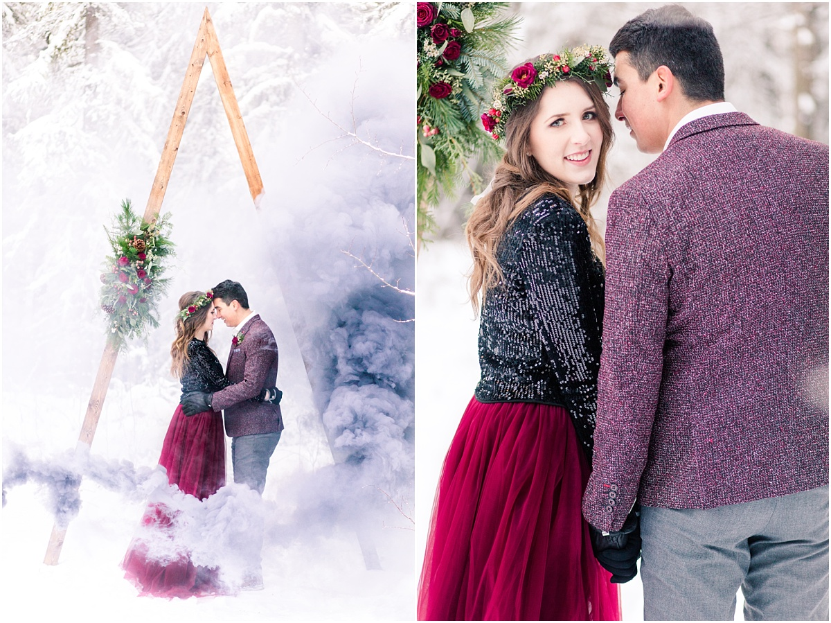 winter engagement session in grande prairie with red dress and purple smoke bomb with changing dreams to reality idea