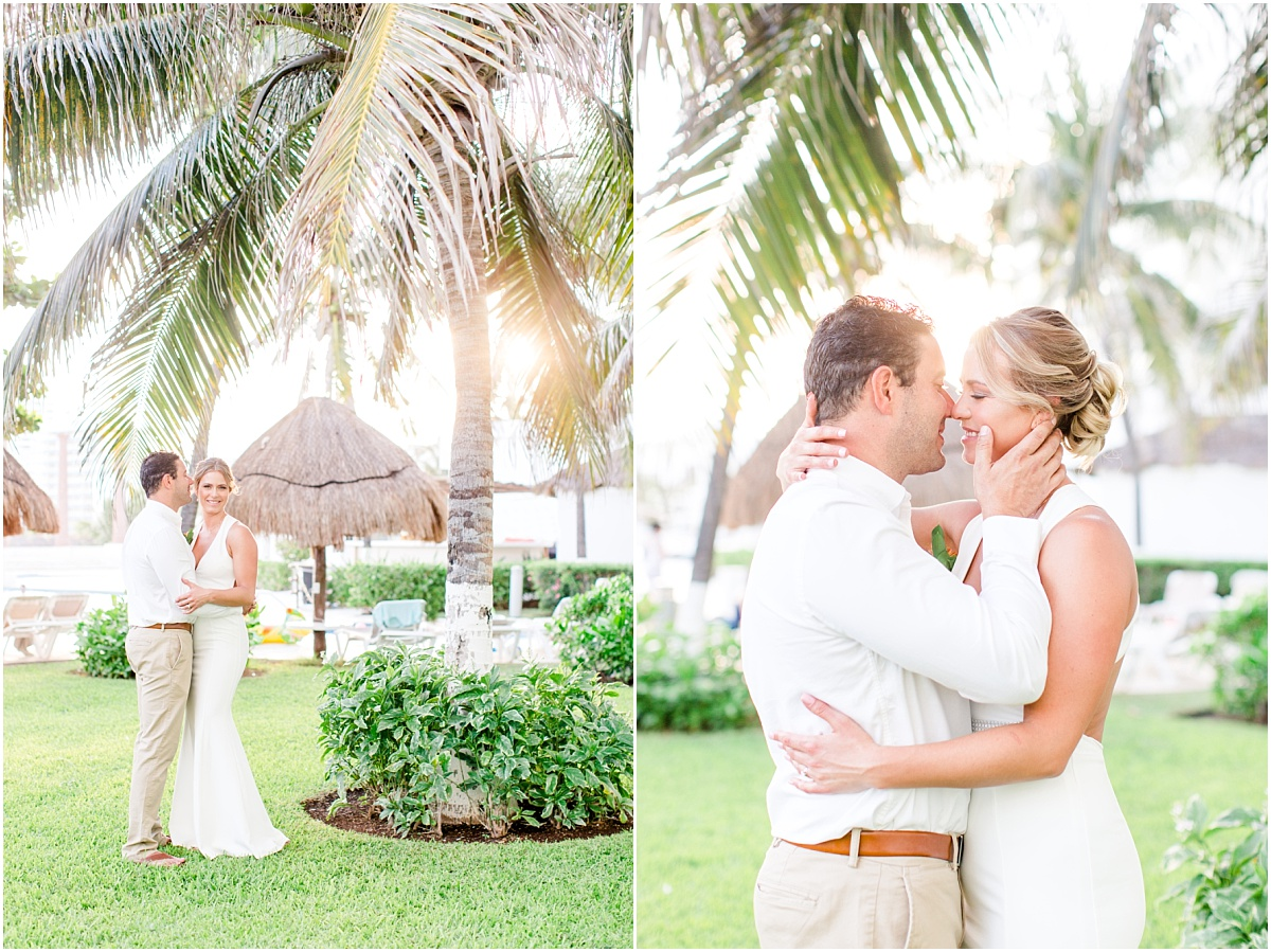 alberta wedding photographer doing an international wedding for scott and jessie next to palm trees in cancun mexico