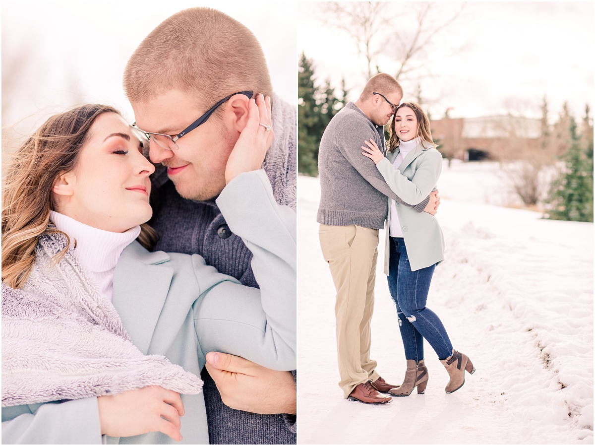 romantic light and airy photographer in edmonton alberta of jillian and zack for their winter engagement photos