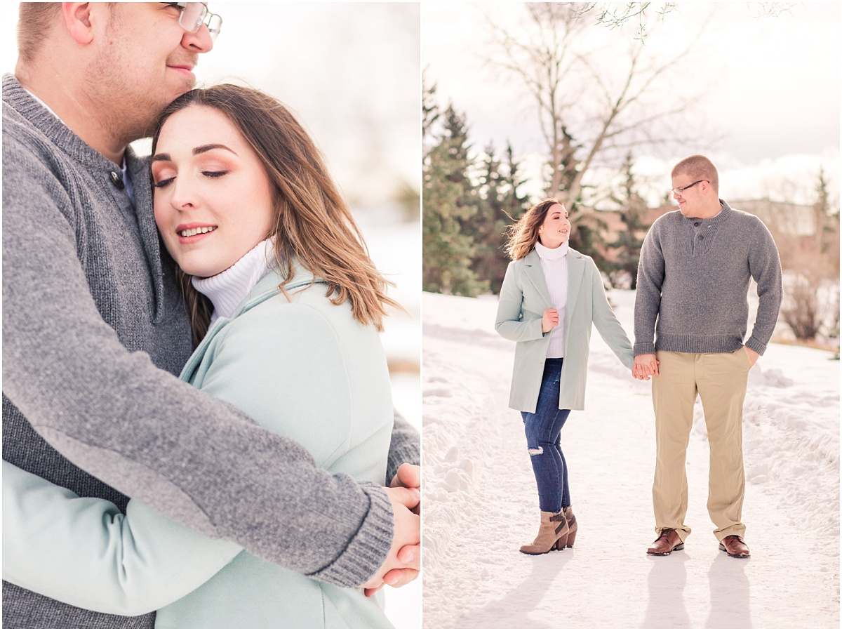 light and airy photographer with couples engagement winter photography in alberta with jillian and zack holding hands