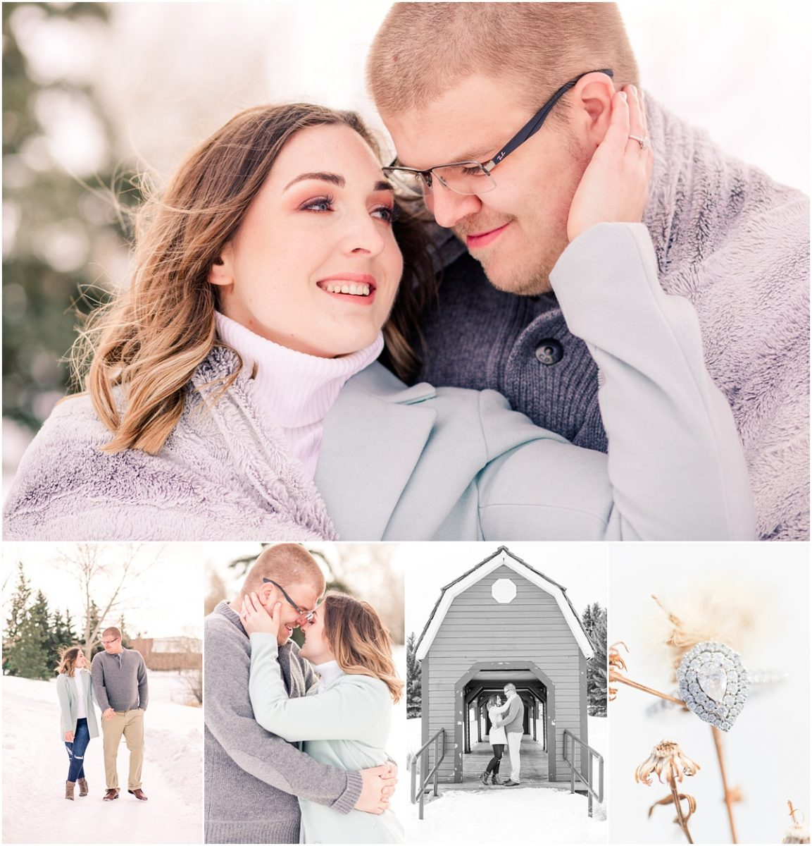 edmonton engagement session at the woodbridge park with zack and jillian red barn with dog willow engaged