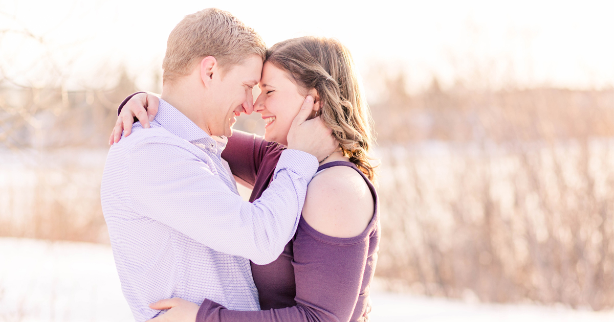 grande prairie engagement photo of john and alisabeth very light and airy close up