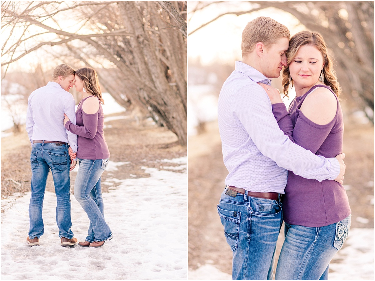 alberta wedding photographer captured engagement photos for alisabeth and john in grande prairie purple along the path very dreamy