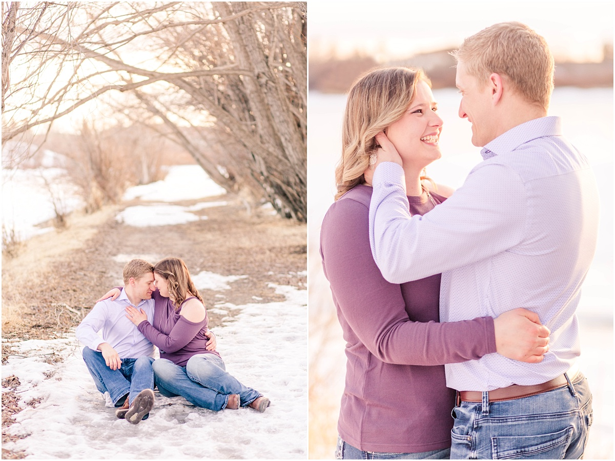couple on blanket for engagement photography photos at muskoseepi park