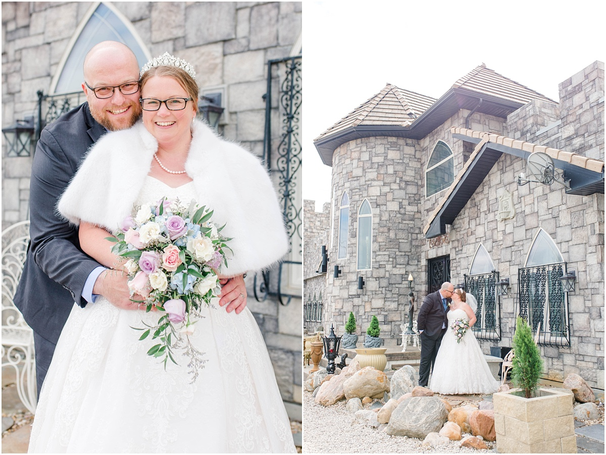 bride and groom at the ryans castle bnb in Edmonton with grey brick for wedding photography covid 19 wedding small