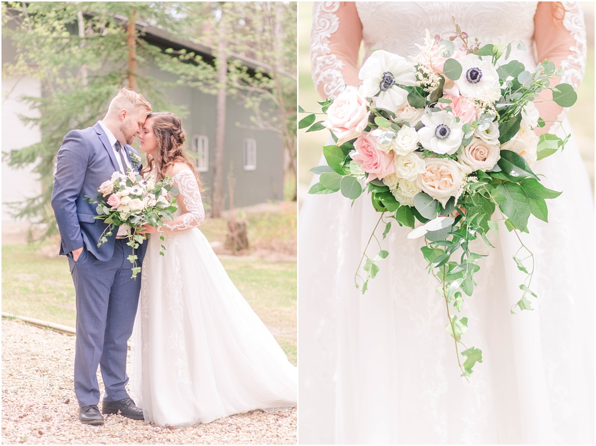 grande prairie wedding photos with photographer with beautiful lush wedding flowers by the little petal co in alberta