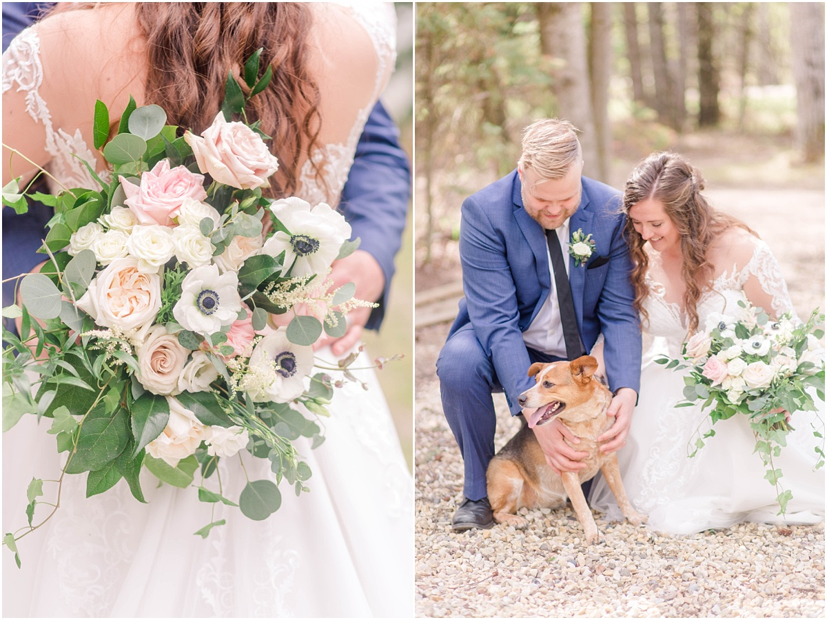 bride and groom petting puppy dog for their wedding in wedding dress with their wedding flowers by the little petal co in parents backyard