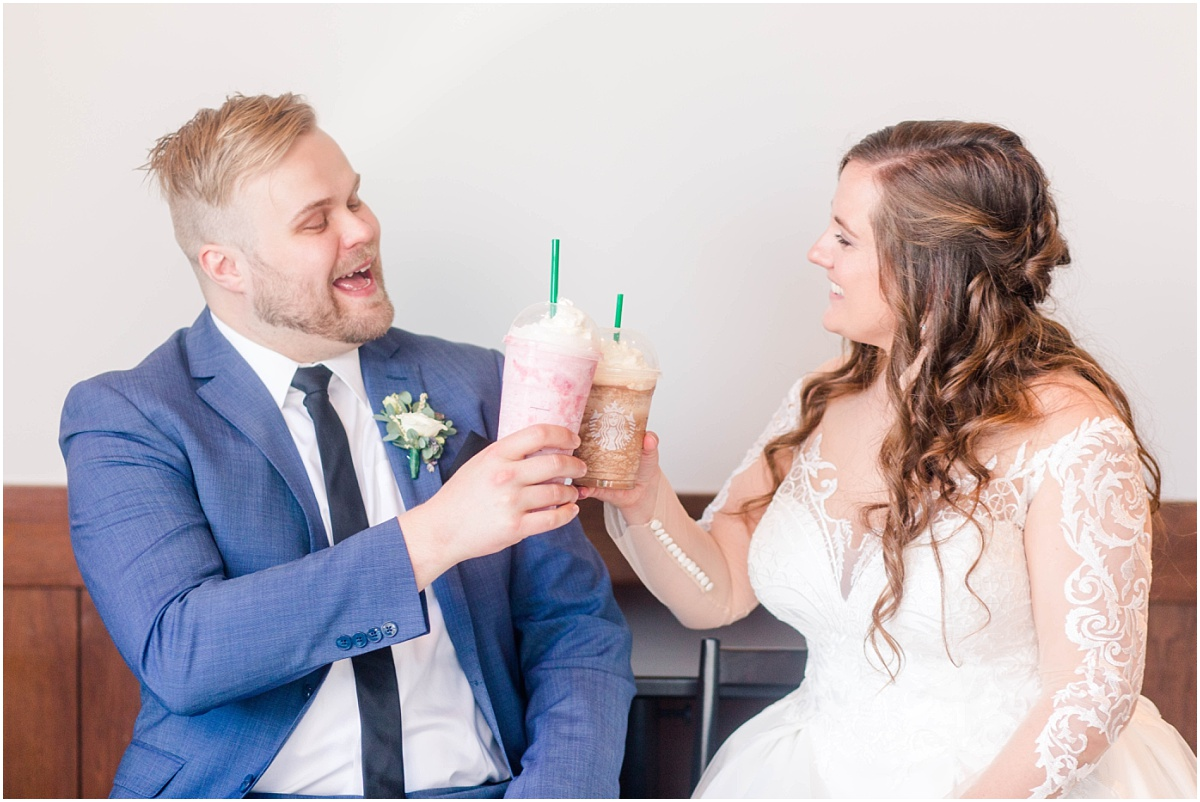 bride and groom wedding starbucks photos with photographer in grande prairie alberta for their small intimate covid wedding