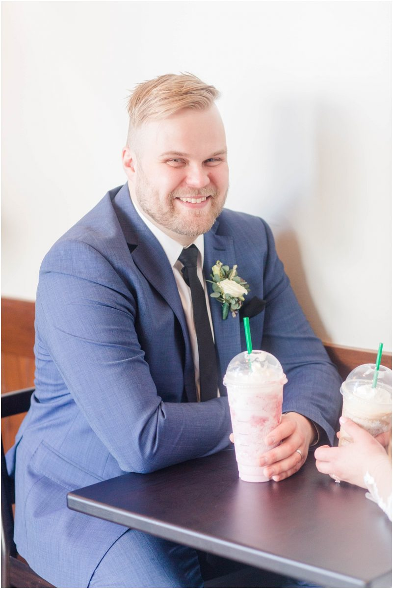 groom with starbucks coffee in grande prairie cobblestone