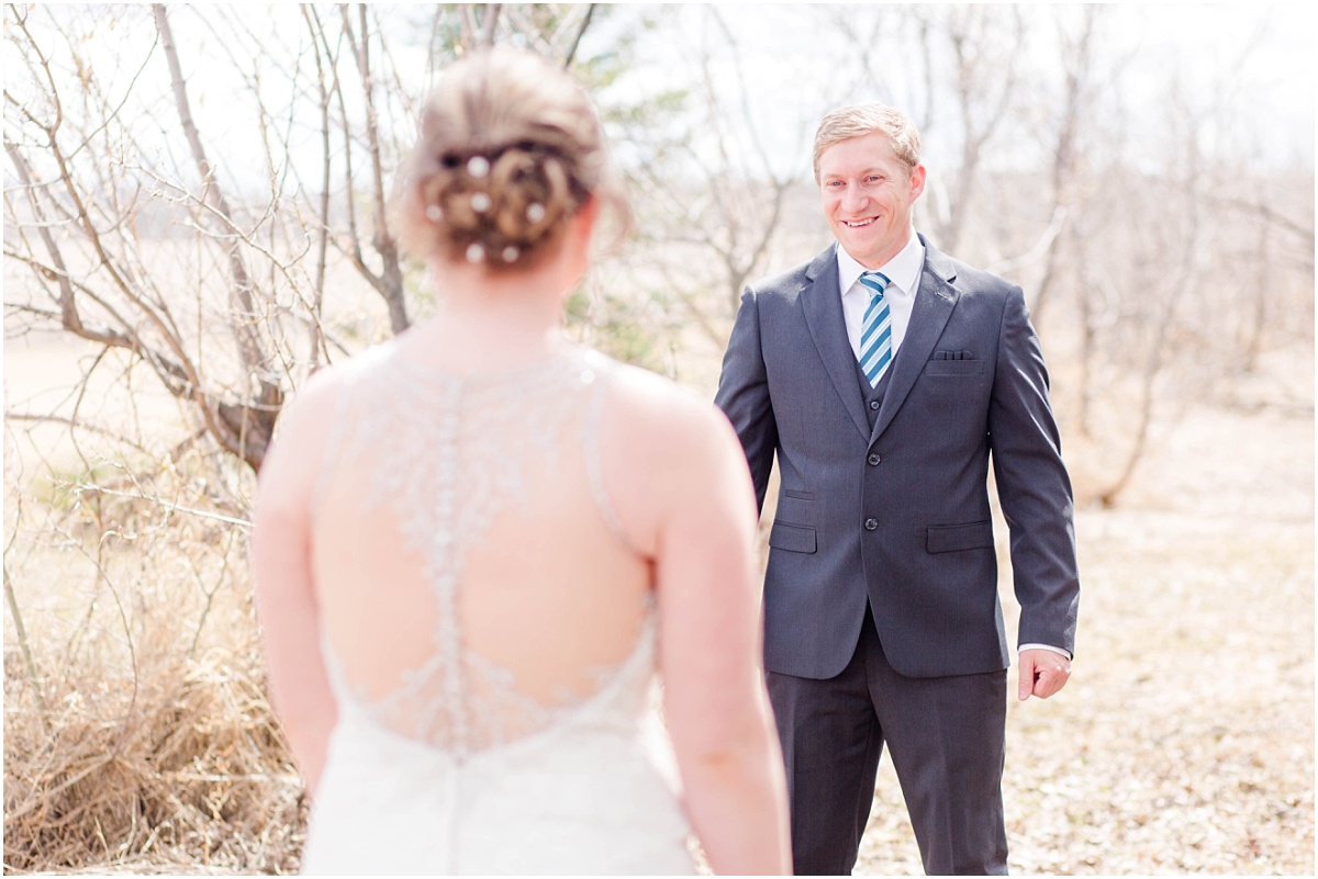 john reaction for first look on their wedding day with grande prairie wedding photographer captured in the spring