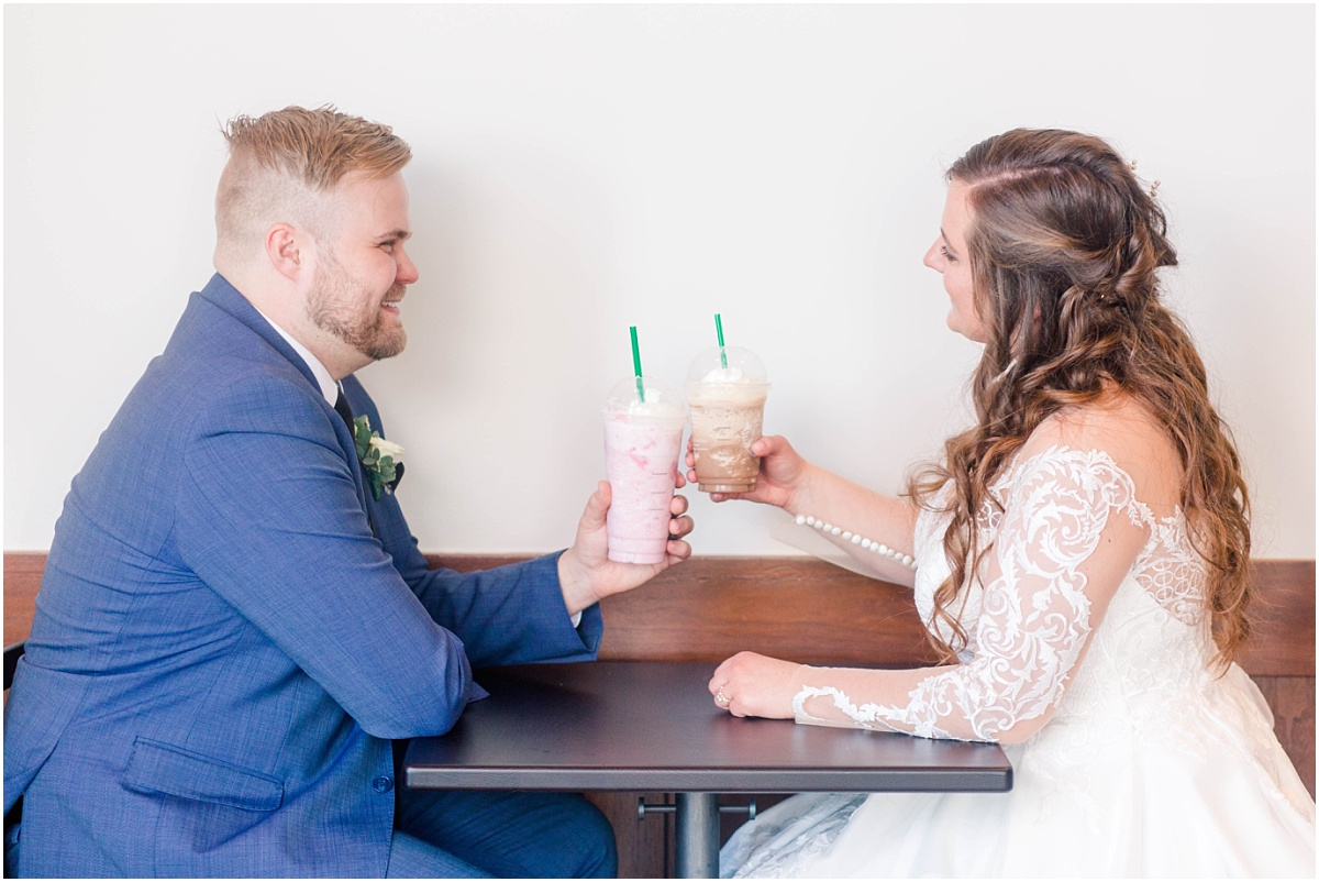 fun wedding starbucks photos with russell and rebekah in cobblestone starbucks in grande prairie alberta