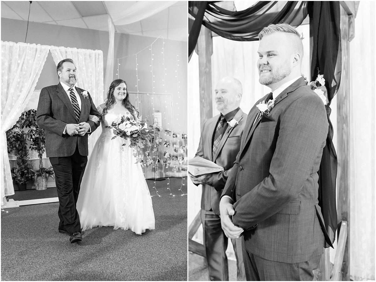 indoor wedding ceremony bride and dad walking down the aisle cfa church ceremony grooms reaction seeing the bride for the first time