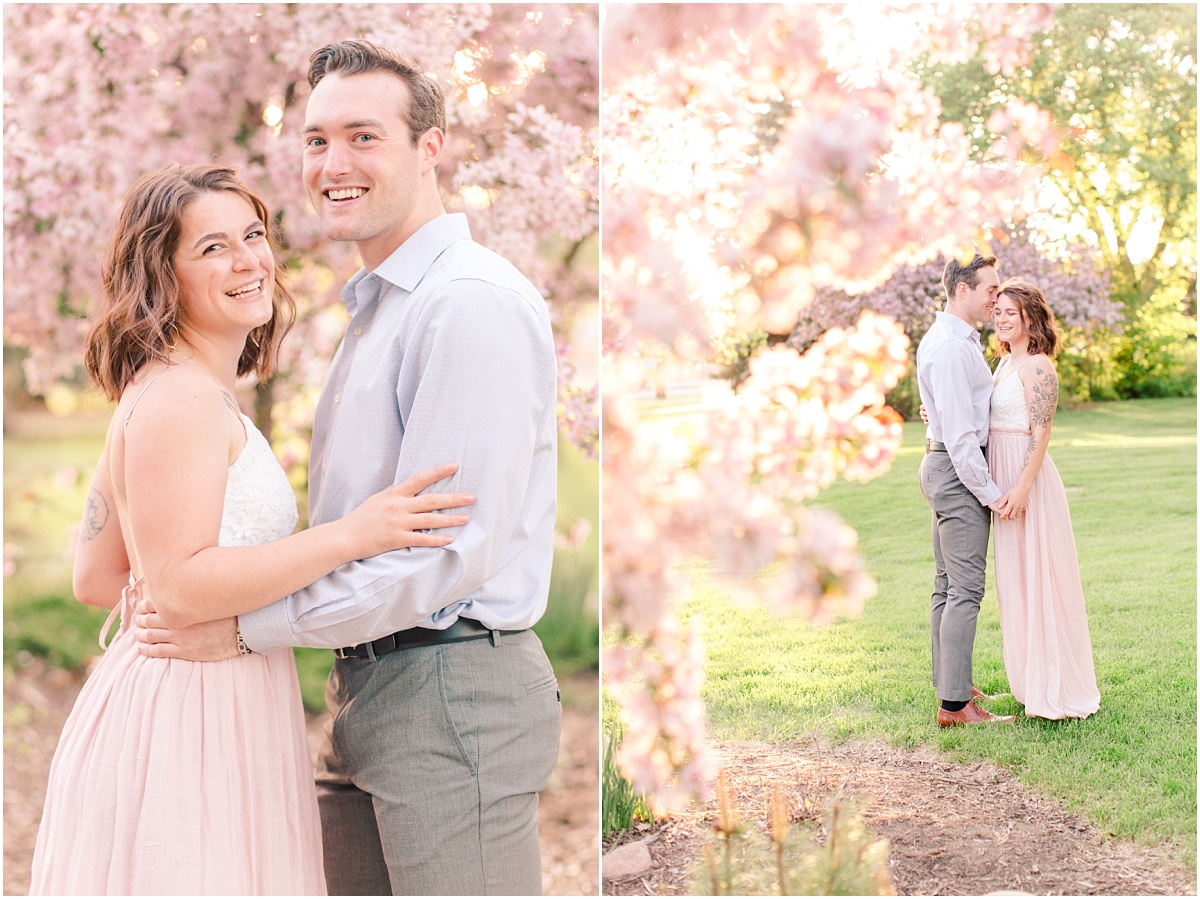 photos with patrick and cassie with the cherry blossoms blush in grande prairie very light and airy and happy beautiful
