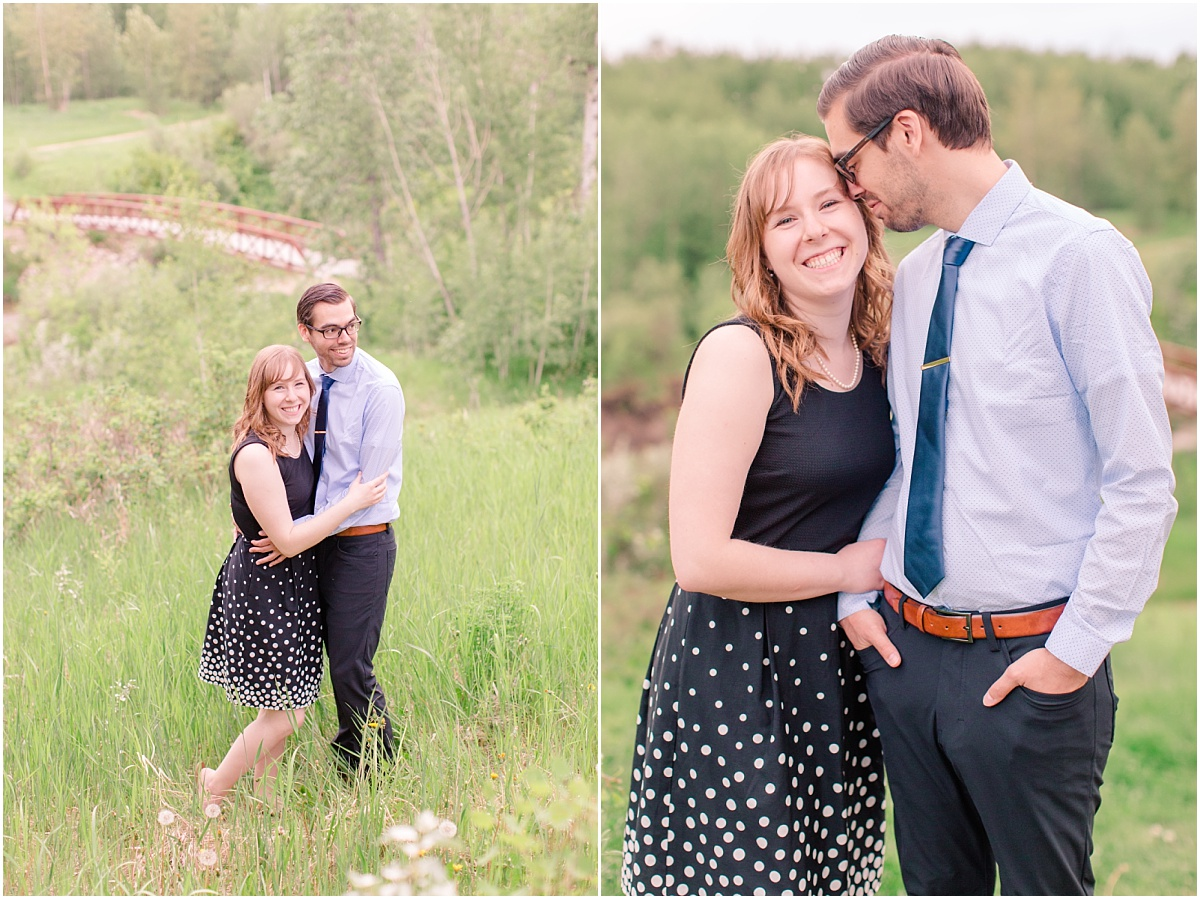south bear creek engagement photos with mr goodwin and lindsay outdoor with their wedding photographer bridge is in the background