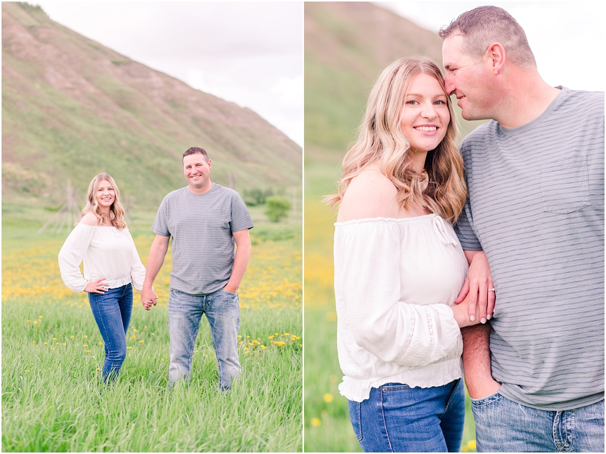 dunvegan hills with couple engagement photos wearing casual clothing cute couple