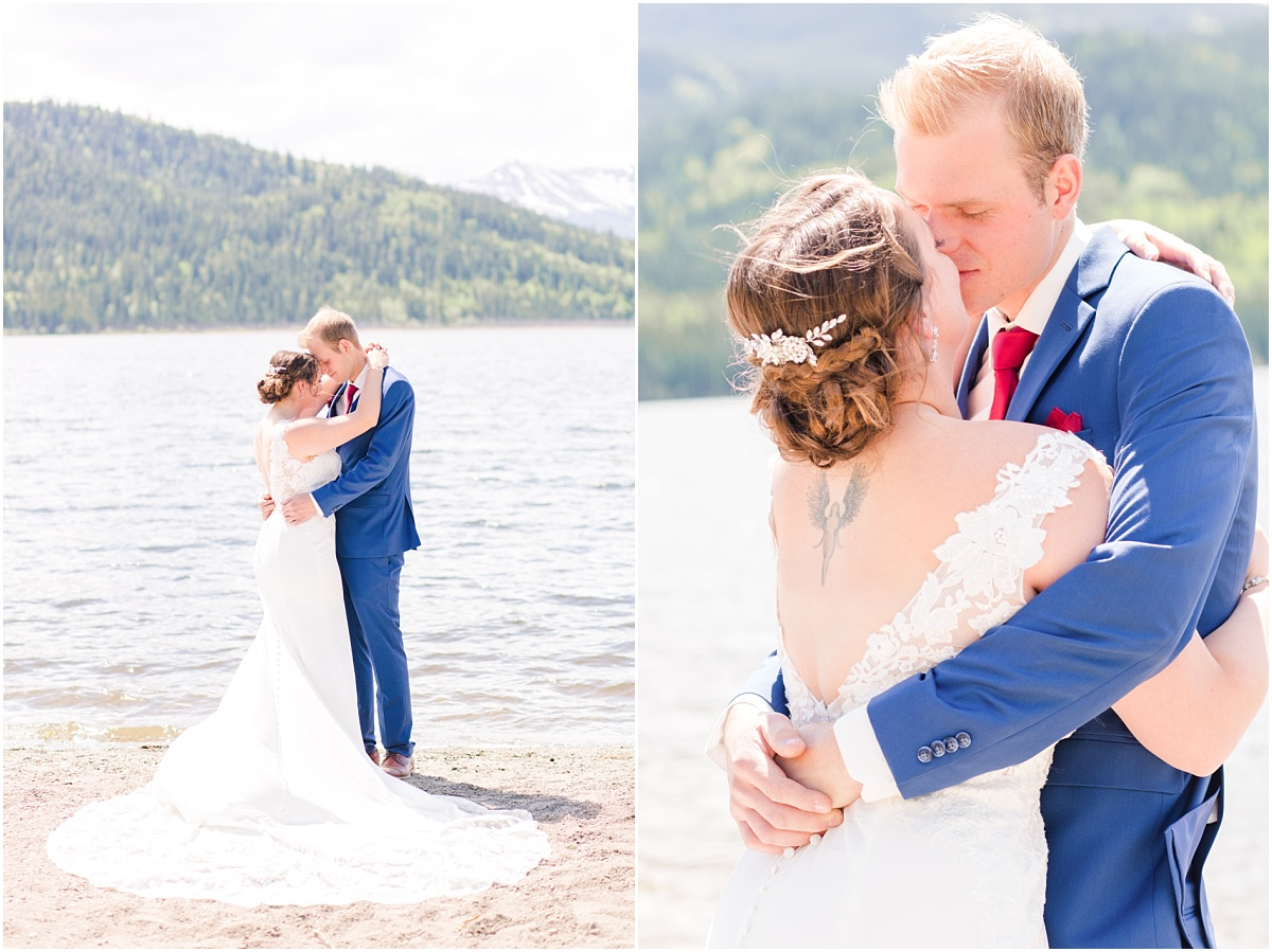danial and shelbee first look photos at grande cache lake for their wedding photographer with photography
