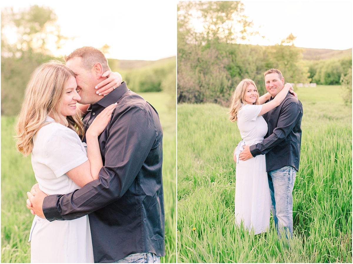 summer engagement session at dunvegan fairview in alberta with lush green grass and trees