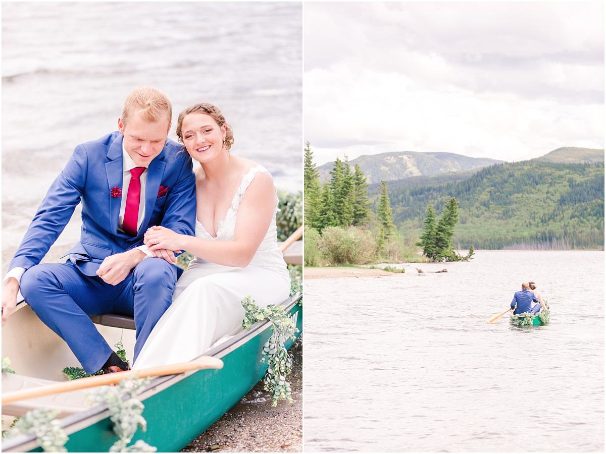 bride and groom in a canoe at grande cache lake for thier mountain wedding with their wedding photographer in the boat