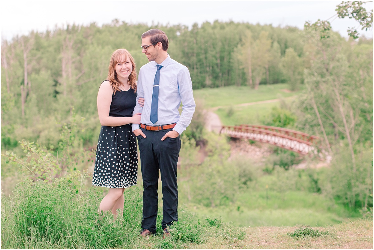 south bear creek engagement photos with lindsay and eric creative photos with bridge trees and beautiful view