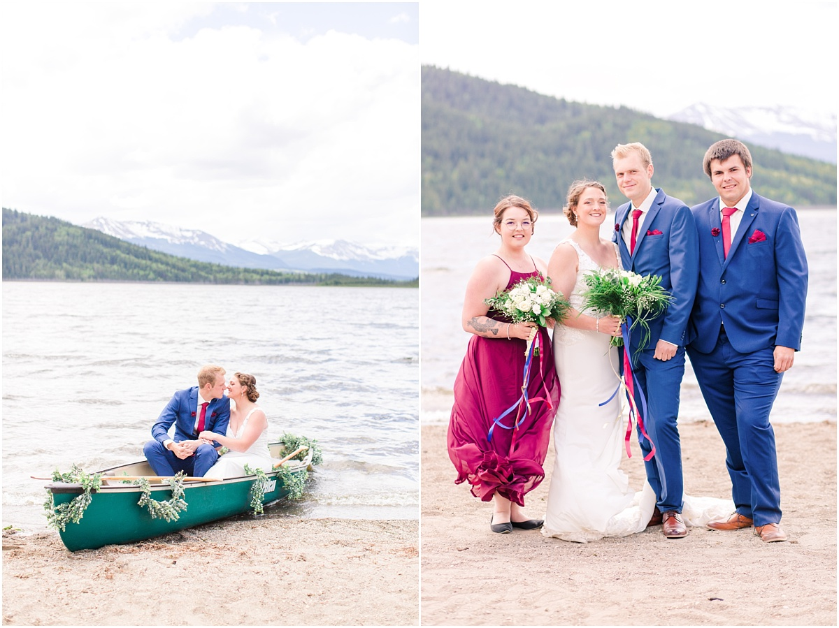 bridal party and canoe photos at grande cache lake with bridal party very windy day