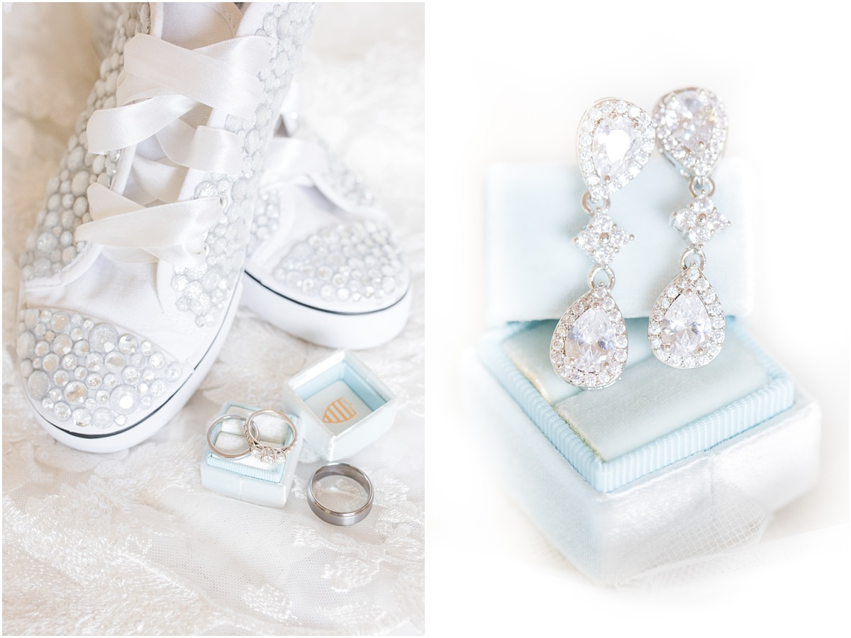 bridal jewelry with weddgin shoes and mr box that is blue for bridal detail photos